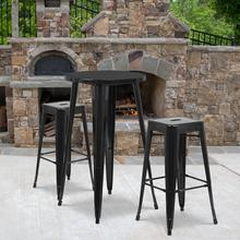 """See Details - Commercial Grade 24"""" Round Black Metal Indoor-Outdoor Bar Table Set with 2 Square Seat Backless Stools"""