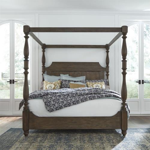 Queen Canopy Bed, Dresser & Mirror
