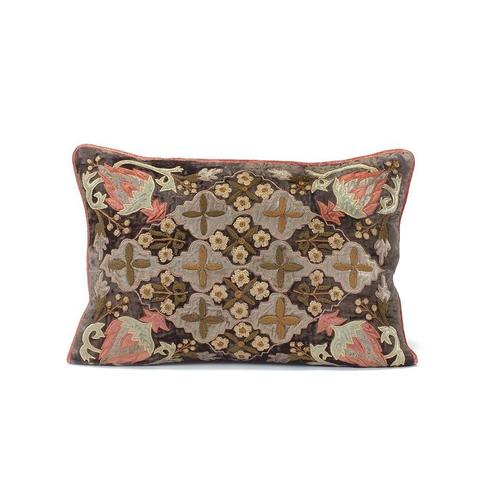 Chocolate Velvet Pillow with a Floral and Medallion Design