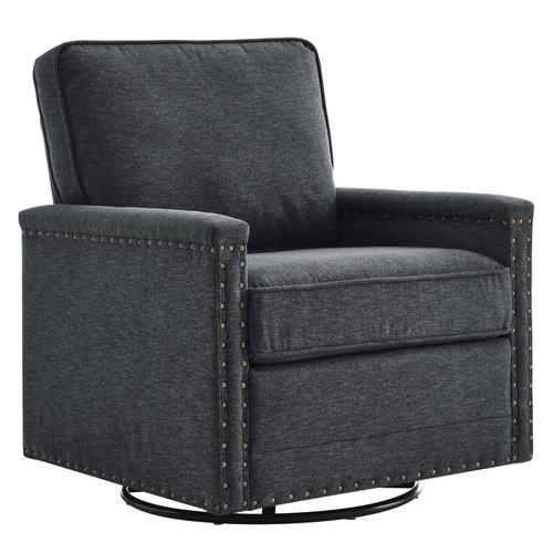 Modway - Ashton Upholstered Fabric Swivel Chair in Charcoal