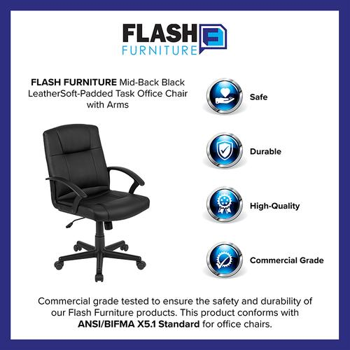Gallery - Flash Fundamentals Mid-Back Black LeatherSoft-Padded Task Office Chair with Arms, BIFMA Certified