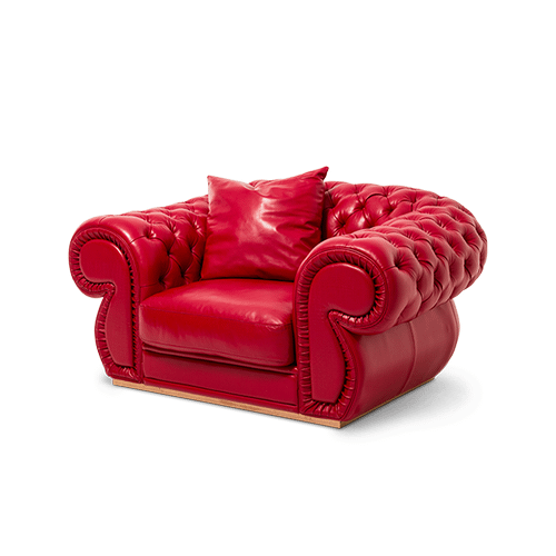 Caterina Leather Chair and a Half in Scarlet RoseGold