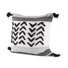 See Details - Kimia 20L x 20W White, Gray, and Black Fabric Herringbone and Fringed Decorative Pillow Cover