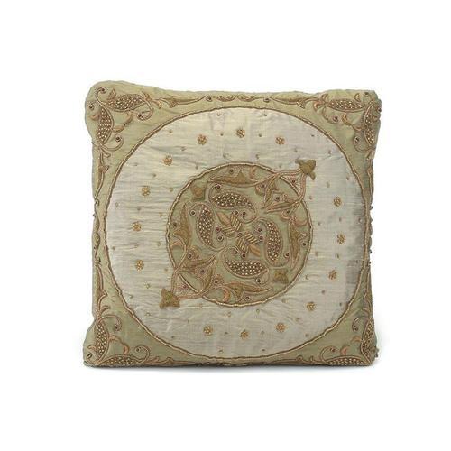 Moss Grey Silk Pillow with a Round Center Medallion