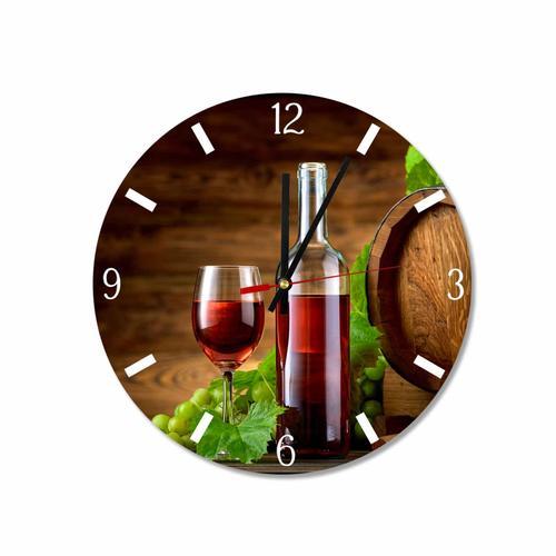 Grako Design - Oak Wine Keg Glass Bottle Round Square Acrylic Wall Clock