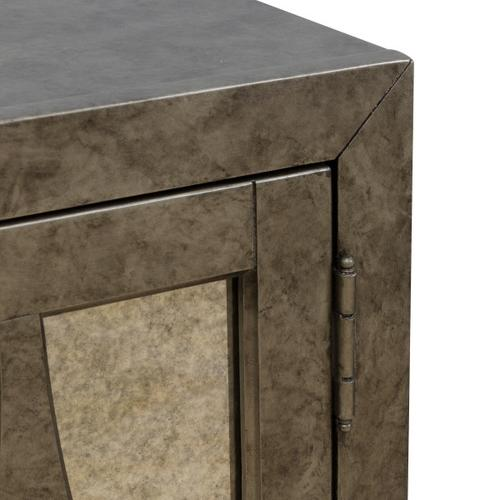 Two Door Mirrored Accent Chest in Antiqued Silver