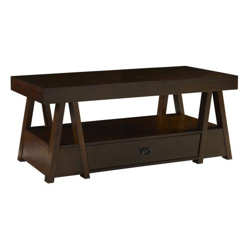 One Spacious Drawer Cocktail Table, Mocha