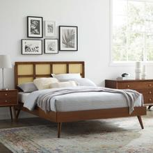 Sidney Cane and Wood Full Platform Bed With Splayed Legs in Walnut