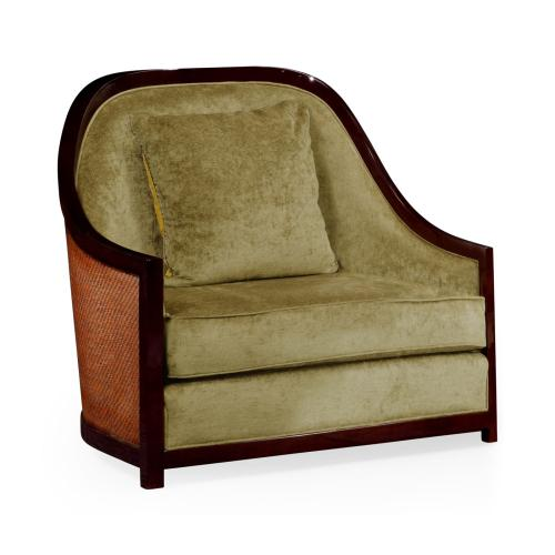 "44"" Sonokelling & Brown Rattan Sofa Chair, Upholstered in Lime Velvet"