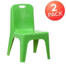 "2 Pack Green Plastic Stackable School Chair with Carrying Handle and 11"" Seat Height"
