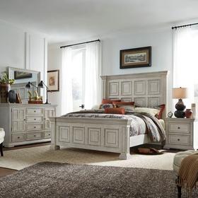 King Panel Bed, Dresser & Mirror, Night Stand