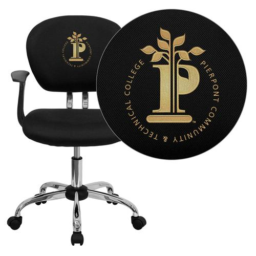 Pierpont Community & Technical College Embroidered Black Mesh Task Chair with Arms and Chrome Base