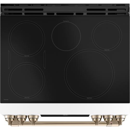 Café 30'' Slide-In Front Control Induction and Convection Range with Warming Drawer Matte White