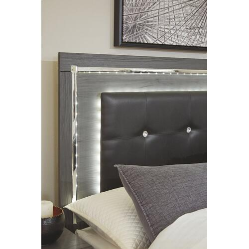 Full Upholstered Panel Headboard With Mirrored Dresser, Chest and Nightstand