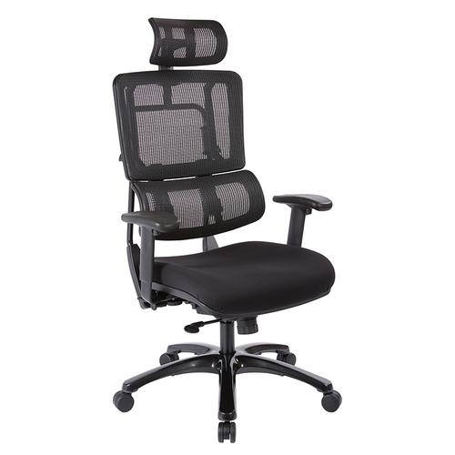 Vertical Black Mesh Back Chair With Shiny Black Base With Headrest