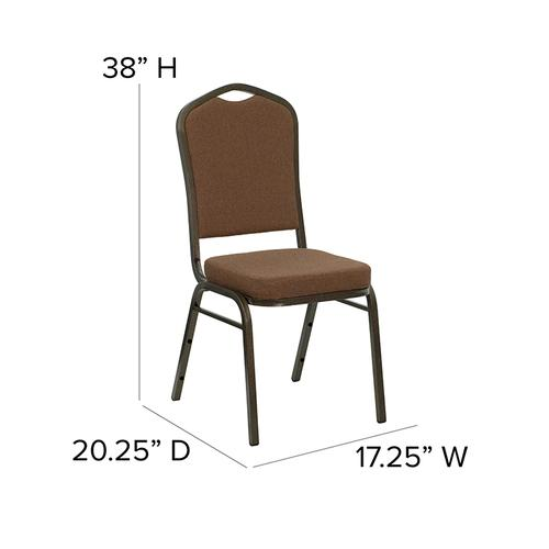 Flash Furniture - HERCULES Series Crown Back Stacking Banquet Chair in Coffee Fabric - Gold Vein Frame