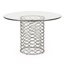 "48"" Interlaced Silver & Glass Dining Table"