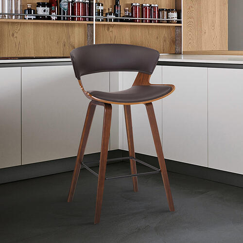"Jagger 26"" Counter Height Stool with Walnut Finish and Brown Faux Leather"