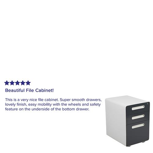 Flash Furniture - Ergonomic 3-Drawer Mobile Locking Filing Cabinet with Anti-Tilt Mechanism & Letter\/Legal Drawer, White with Charcoal Faceplate