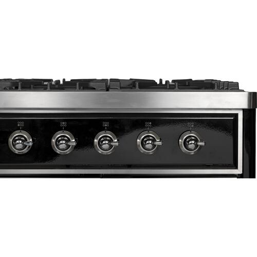 Ilve - Majestic II 40 Inch Dual Fuel Liquid Propane Freestanding Range in Glossy Black with Chrome Trim