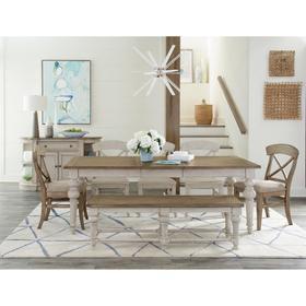Southport - Dining Bench - Smokey White/antique Oak Finish