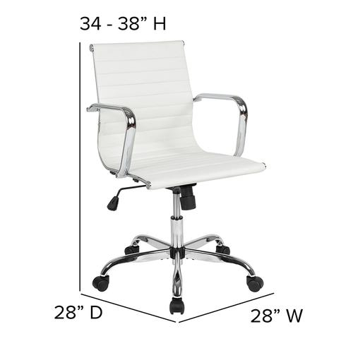 Mid-Back White LeatherSoft Mid-Century Modern Ribbed Swivel Office Chair with Spring-Tilt Control and Arms