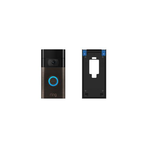 Ring - Video Doorbell (2020 Release) with No-Drill Mount - Satin Nickel