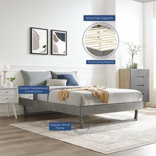Billie Full Wood Platform Bed Frame in Gray