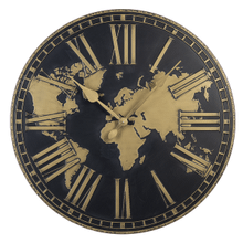 Black & Gold Embossed World Wall Clock