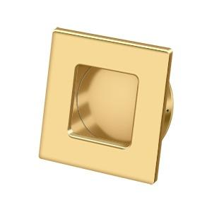 """Deltana - Flush Pull, Square, HD, 2-3/4"""" x 2-3/4"""", Solid Brass - PVD Polished Brass"""