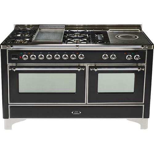 Gloss Black with Chrome trim - Majestic 60-inch Range with Griddle