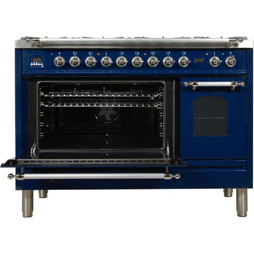 Nostalgie 48 Inch Dual Fuel Natural Gas Freestanding Range in Blue with Chrome Trim