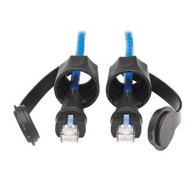 Industrial Cat6 UTP Ethernet Cable (RJ45 M/M), 100W PoE, CMR-LP, IP68, Blue, 3 ft.