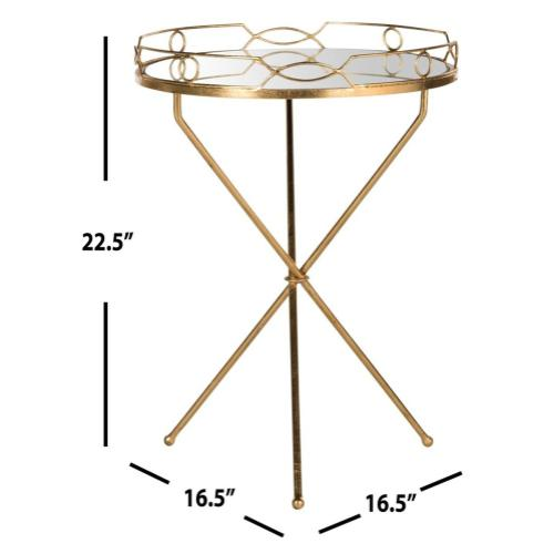 Cherris Mirror Top Round Gold Leaf End Table - Antique Gold