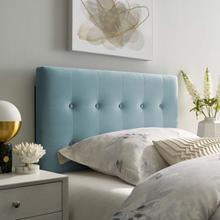 View Product - Emily Twin Biscuit Tufted Performance Velvet Headboard in Light Blue