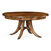 "59"" Crotch Walnut circular dining table with self-storing leaves"