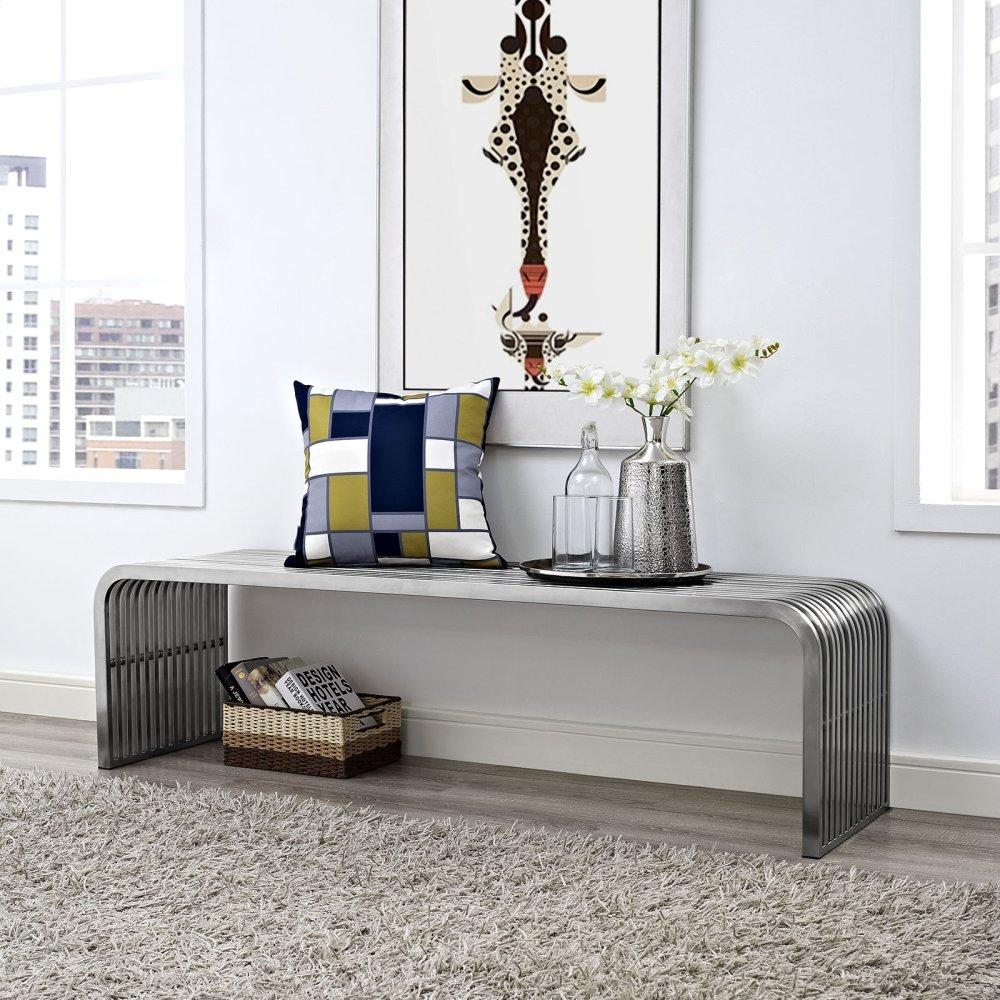 """Pipe 60"""" Stainless Steel Bench in Silver"""
