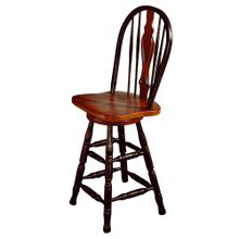 """See Details - Keyhole Barstool - Antique Black with Cherry Accents (24"""")"""