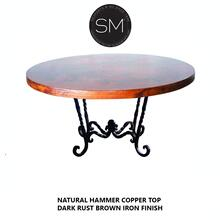 Hammer Copper Round Dining Table