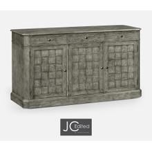 """64"""" Antique Dark Grey Three Door Sideboard"""