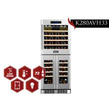 View Product - KUCHT 72-Bottle Triple Zone Wine Cooler Built-in with Compressor in Stainless Steel
