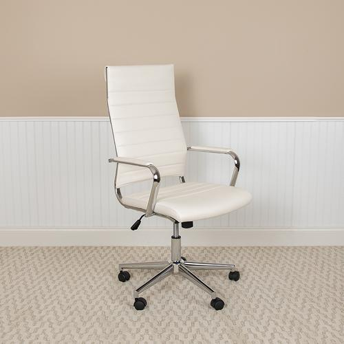 Gallery - High Back White LeatherSoft Contemporary Ribbed Executive Swivel Office Chair