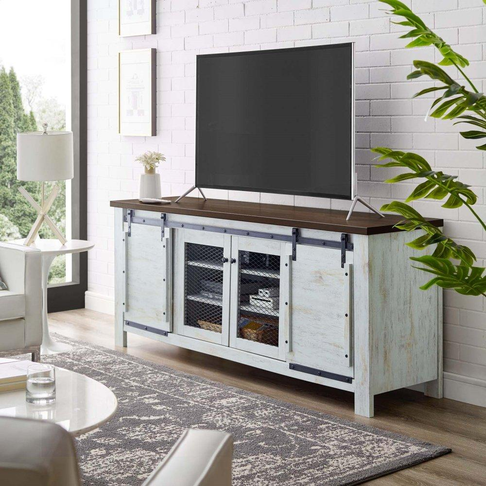 "Bennington 71"" Rustic Sliding Door TV Stand in White"