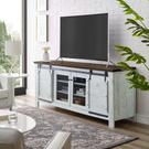 "Bennington 71"" Rustic Sliding Door TV Stand in White Product Image"