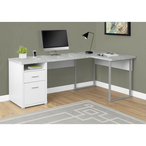 """Gallery - COMPUTER DESK - 80""""L WHITE / CEMENT-LOOK LEFT/RIGHT FACE"""