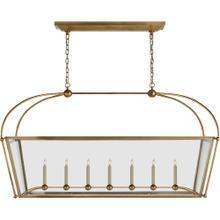 Visual Comfort CHC5438AB-CG E. F. Chapman Plantation 7 Light 54 inch Antique-Burnished Brass Linear Pendant Ceiling Light, Large