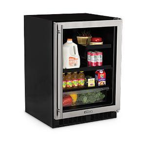 "Marvel 24"" Beverage Refrigerator with Drawer - Solid Overlay Panel Door - Integrated Left Hinge"