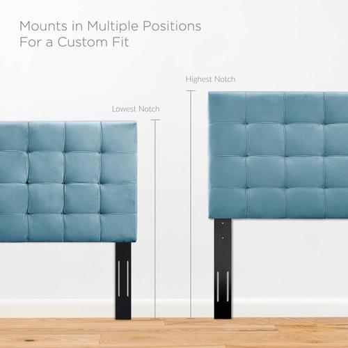 Modway - Paisley Tufted Full / Queen Upholstered Performance Velvet Headboard in Sea Blue