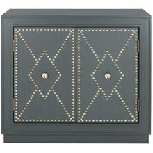 Erin 2 Door Chest - Steel Teal Linen / Gold / Mirror