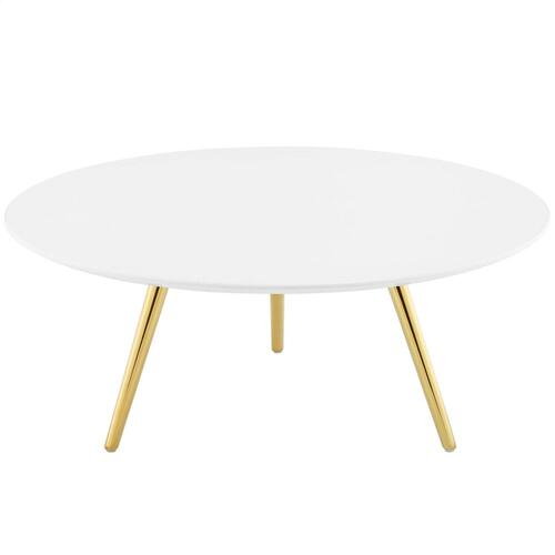 "Lippa 36"" Round Wood Top Coffee Table with Tripod Base in Gold White"